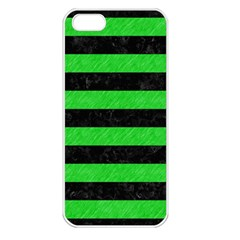Stripes2 Black Marble & Green Colored Pencil Apple Iphone 5 Seamless Case (white) by trendistuff