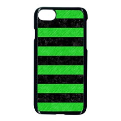 Stripes2 Black Marble & Green Colored Pencil Apple Iphone 7 Seamless Case (black) by trendistuff