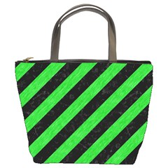 Stripes3 Black Marble & Green Colored Pencil Bucket Bags by trendistuff