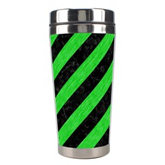 Stripes3 Black Marble & Green Colored Pencil Stainless Steel Travel Tumblers by trendistuff