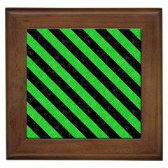Stripes3 Black Marble & Green Colored Pencil (r) Framed Tiles by trendistuff