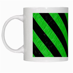 Stripes3 Black Marble & Green Colored Pencil (r) White Mugs by trendistuff