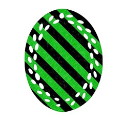 Stripes3 Black Marble & Green Colored Pencil (r) Oval Filigree Ornament (two Sides) by trendistuff
