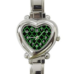 Tile1 Black Marble & Green Colored Pencil Heart Italian Charm Watch by trendistuff