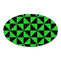 Triangle1 Black Marble & Green Colored Pencil Oval Magnet by trendistuff