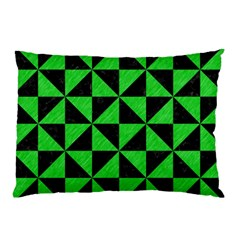 Triangle1 Black Marble & Green Colored Pencil Pillow Case by trendistuff