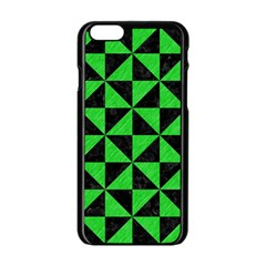 Triangle1 Black Marble & Green Colored Pencil Apple Iphone 6/6s Black Enamel Case by trendistuff