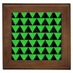 Triangle2 Black Marble & Green Colored Pencil Framed Tiles by trendistuff