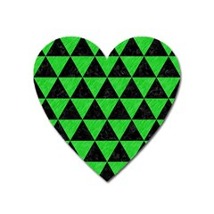 Triangle3 Black Marble & Green Colored Pencil Heart Magnet by trendistuff