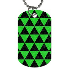 Triangle3 Black Marble & Green Colored Pencil Dog Tag (two Sides) by trendistuff