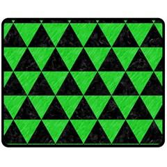 Triangle3 Black Marble & Green Colored Pencil Fleece Blanket (medium)  by trendistuff
