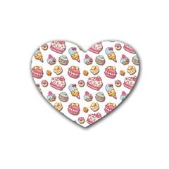 Sweet Pattern Rubber Coaster (heart)  by Valentinaart