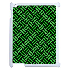 Woven2 Black Marble & Green Colored Pencil Apple Ipad 2 Case (white) by trendistuff