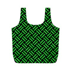 Woven2 Black Marble & Green Colored Pencil Full Print Recycle Bags (m)  by trendistuff