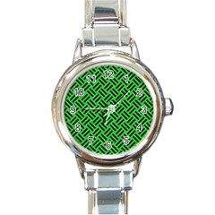 Woven2 Black Marble & Green Colored Pencil (r) Round Italian Charm Watch by trendistuff