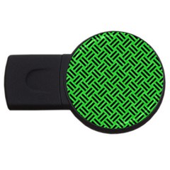Woven2 Black Marble & Green Colored Pencil (r) Usb Flash Drive Round (4 Gb) by trendistuff