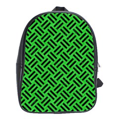 Woven2 Black Marble & Green Colored Pencil (r) School Bag (large) by trendistuff