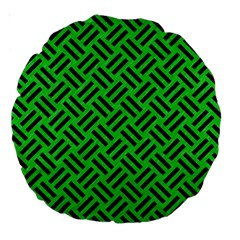 Woven2 Black Marble & Green Colored Pencil (r) Large 18  Premium Round Cushions by trendistuff