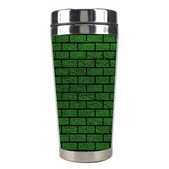 Brick1 Black Marble & Green Leather (r) Stainless Steel Travel Tumblers by trendistuff
