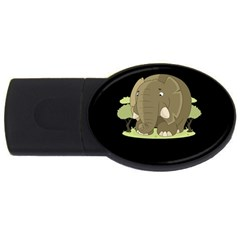 Cute Elephant Usb Flash Drive Oval (2 Gb) by Valentinaart