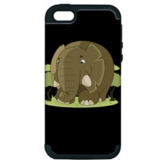 Cute Elephant Apple Iphone 5 Hardshell Case (pc+silicone) by Valentinaart