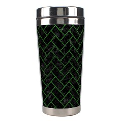 Brick2 Black Marble & Green Leather Stainless Steel Travel Tumblers by trendistuff