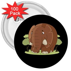 Cute Elephant 3  Buttons (100 Pack)  by Valentinaart