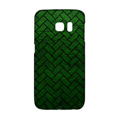 Brick2 Black Marble & Green Leather (r) Galaxy S6 Edge by trendistuff