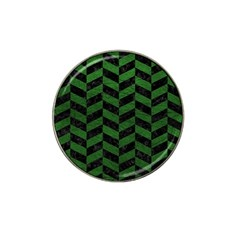 Chevron1 Black Marble & Green Leather Hat Clip Ball Marker (4 Pack) by trendistuff