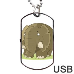Cute Elephant Dog Tag Usb Flash (two Sides) by Valentinaart