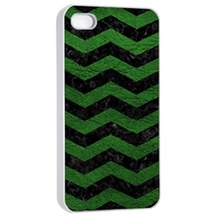Chevron3 Black Marble & Green Leather Apple Iphone 4/4s Seamless Case (white) by trendistuff