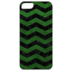 Chevron3 Black Marble & Green Leather Apple Iphone 5 Classic Hardshell Case by trendistuff