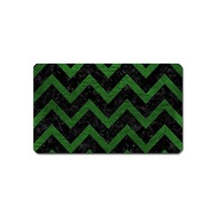 Chevron9 Black Marble & Green Leather Magnet (name Card) by trendistuff