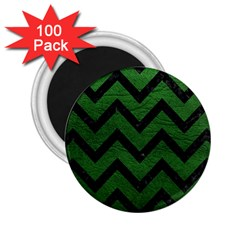 Chevron9 Black Marble & Green Leather (r) 2 25  Magnets (100 Pack)  by trendistuff