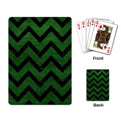 Chevron9 Black Marble & Green Leather (r) Playing Card by trendistuff