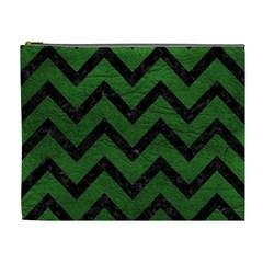 Chevron9 Black Marble & Green Leather (r) Cosmetic Bag (xl)