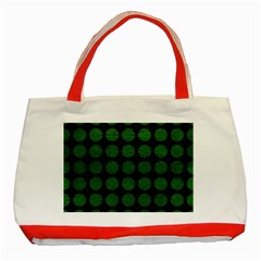 Circles1 Black Marble & Green Leather Classic Tote Bag (red) by trendistuff