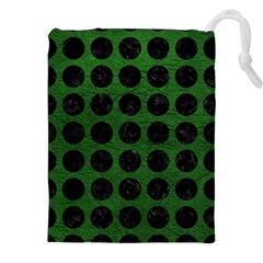 Circles1 Black Marble & Green Leather (r) Drawstring Pouches (xxl) by trendistuff