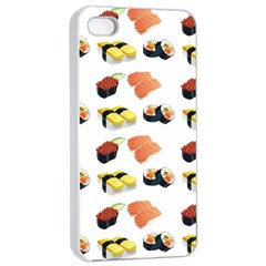 Sushi Pattern Apple Iphone 4/4s Seamless Case (white) by Valentinaart