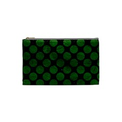 Circles2 Black Marble & Green Leather Cosmetic Bag (small)  by trendistuff