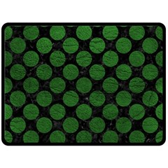Circles2 Black Marble & Green Leather Fleece Blanket (large)  by trendistuff