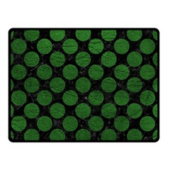 Circles2 Black Marble & Green Leather Double Sided Fleece Blanket (small)  by trendistuff