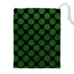 Circles2 Black Marble & Green Leather Drawstring Pouches (xxl) by trendistuff
