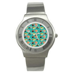 Sushi Pattern Stainless Steel Watch by Valentinaart
