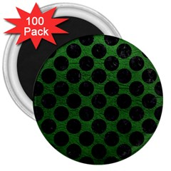 Circles2 Black Marble & Green Leather (r) 3  Magnets (100 Pack) by trendistuff