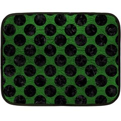 Circles2 Black Marble & Green Leather (r) Double Sided Fleece Blanket (mini)  by trendistuff