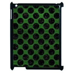 Circles2 Black Marble & Green Leather (r) Apple Ipad 2 Case (black) by trendistuff