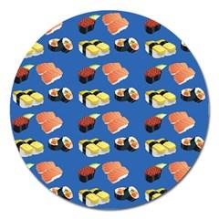 Sushi Pattern Magnet 5  (round) by Valentinaart