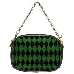 Diamond1 Black Marble & Green Leather Chain Purses (one Side)  by trendistuff