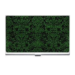 Damask2 Black Marble & Green Leather Business Card Holders by trendistuff